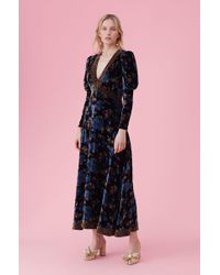 Rebecca Taylor - Solstice Floral Velvet Dress Black, Size 8 - Lyst