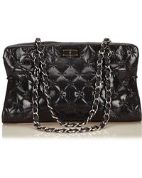 Chanel | Quilted Patent Leather Reissue Chain Shoulder Bag | Lyst