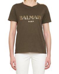 Balmain - Button-embellished Printed Cotton-jersey T-shirt - Lyst
