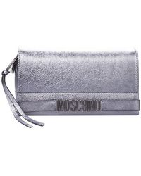 Moschino   Logo Plaque Clutch In Silver Leather With Metallico Logo, Lace And Shoulder Strap   Lyst