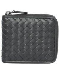 Bottega Veneta - Intrecciato Small Zip-around Wallet Grey - Lyst