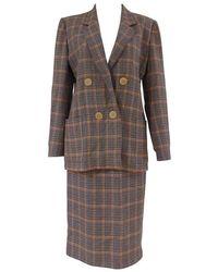 Hermès - 1980s Multicoloured Wool Skirt Suit - Lyst