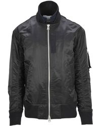 Sacai Trimmed Wool Lyst Jacket Bomber And Layered Nylon Grosgrain HnqwPf8pw