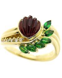 Lanvin   Garnet 2.00ct Diamond 0.10ct Ring 18k K18 Yg Size6.5-7(us) 90035983..   Lyst