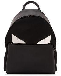 Fendi - Nylon Black Backpack With Golden Inserts - Lyst