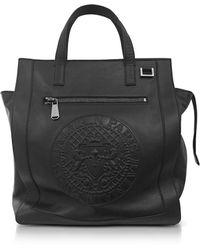 Balmain | Black Smooth Leather Men's Square Tote Bag W/embossed Blazon | Lyst