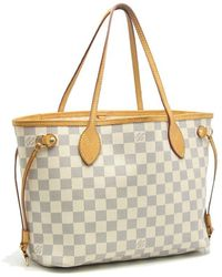 9efdb8ad29b3 Louis Vuitton - Damier Azur Neverfull Pm Tote Bag N51110 White  58498 - Lyst