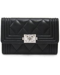 Chanel - Boy Card Case Quilted Leather Black - Lyst