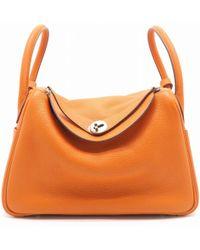 Hermès - Clemence Leather Lindy 30 Shoulder Tote Bag Orange 1555 - Lyst