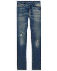 """Dior Homme   Jeans, Slim Fit, Blue Stretch Cotton With """"worn"""" Effect   Lyst"""