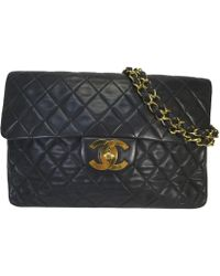 Chanel - Auth Quilted Classic Flap Shoulder Handbag Black Leather Used Vintage - Lyst