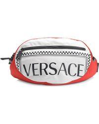 Versace Logo Belt Bag In Black, Red And White Nylon