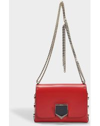 Jimmy Choo - Lockett Petite Bag In Red And Chrome Spazzolato Leather - Lyst eeaf30f594
