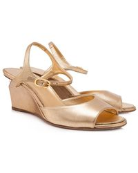 Chanel | Pre-owned Metallic Leather Pearl Wedges | Lyst