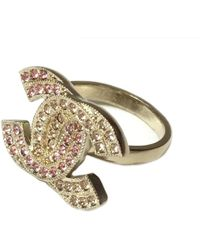 Chanel | Ring Yellow And Pink Rhinestones Golden T52 | Lyst