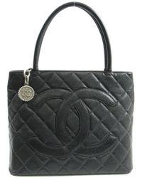 Chanel - Medallion Totebag Handbag Shoulderbag Caviar Skin Leather Black -  Lyst fff07977b8d78