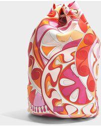Emilio Pucci - Capri Bucket Backpack In Orange Printed Nylon - Lyst