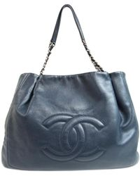 Chanel - Cc Chain Shoulderbag Totebag Caviar Skin Leather Navy Blue - Lyst 393f1c0e93cd2