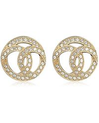 Chanel - Design Coco Mark Circle Rhinestone Pierces Gold Ab0687[brand New][authentic] - Lyst