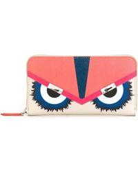 Fendi - Women's 8m02997jnf02lz-mcf Pink Leather Wallet - Lyst