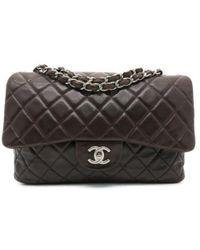 b8d9c7c11fcd0b Chanel - Cc Matelasse Jumbo Chain Shoulder Bag Crossbody Calfskin Brown -  Lyst