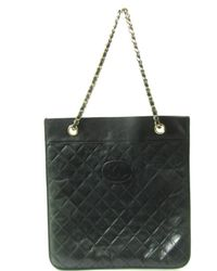 Chanel - Authentic Chain Shoulder Tote Bag Lamb Skin Leather Black - Lyst b042a1b4f88fa