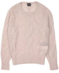 c6db6dbc Lyst - Tom Ford Mens Mohair Silk Grey Crewneck Cable Knit Sweater in ...
