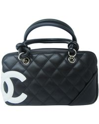 ef2a275149c65d Chanel - Cambon Line Bowling Bag Black Lamb Leather - Lyst