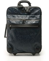 Etro - Leather Navy Press Trolley Carry Case Suitcase Circle Got Line Paisley Type - Lyst