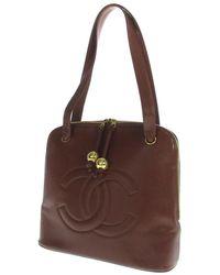 7450c224b41 Lyst - Chanel Caviar Skin Tote Bag Coco Mark in Brown