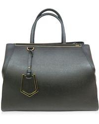 c58a6b72777b Fendi - Calfskin Leather Satchel Bag Black 1881 - Lyst