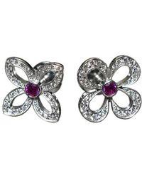 Louis Vuitton - Q96071 K18 White Gold X Diamond X Pink Sapphire Earrings - Lyst