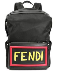 14be981fa9e Lyst - Fendi Women s Colorful Shearling Letter Logo Leather Backpack ...