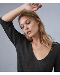 c88a6fd1b6d51d Phase Eight - Silver Carissa Shimmer Cold Shoulder Top - Lyst · Reiss -  Carissa - Metallic Knitted Top - Lyst