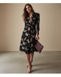 f0c2c739d0 Reiss - Lita - Twist Front Butterfly Printed Dress - Lyst
