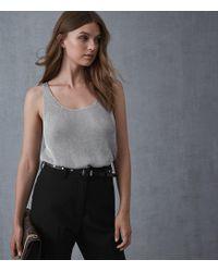 Reiss - Lilian - Metallic Knitted Top - Lyst