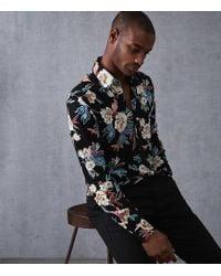 Reiss - Long Sleeve Shirt In Black Floral Print - Lyst