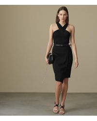 42668d85f1 Lyst - Reiss Cavella Sheer-panel Dress in Black
