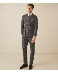 Reiss Checked Double Breasted Suit