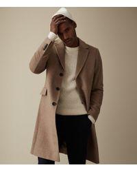 Reiss - Tildon - Wool Top Stitch Detail Overcoat - Lyst