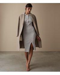 Reiss - Louise - Button Collar Knitted Dress - Lyst