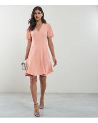 7a4af776e6 Reiss - Natalia - V-neck Fit And Flare Dress - Lyst