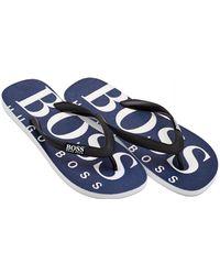 BOSS Athleisure - Wave Sandal Logo Navy Blue Thong Flip Flops - Lyst