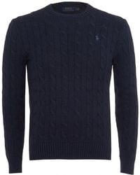 Ralph Lauren - Cable Knit Jumper, Crew Neck Navy Blue Jumper - Lyst