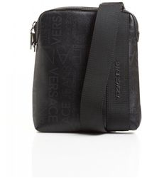 Versace Jeans - All Over Logo Printed Black Stash Bag - Lyst