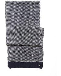 BOSS - Birdseye Navy White Weave Scarf - Lyst