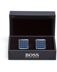 BOSS - Ricky Triangle Print Blue Cufflinks - Lyst