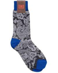 Etro - Paisley Print Contrast Cuff Black Socks - Lyst