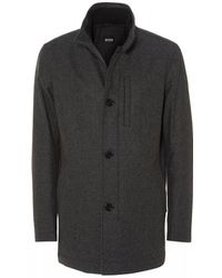 BOSS - Camron Wool Blend Charcoal Grey Coat - Lyst