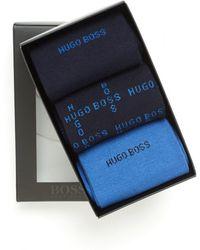 BOSS Black - Triple Pack Blue Logo Ankle Socks - Lyst